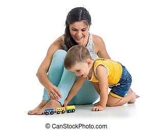 男の子, プレーしなさい, 彼の, 子供, おもちゃ, 母