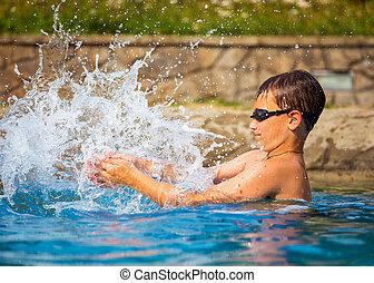男の子, プールを すること, 水泳