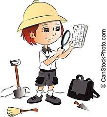 男の子, ベクトル, サイト。, ガラス, 建設, 使うこと, 拡大する