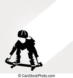 男の子, ベクトル, スケーター, イラスト