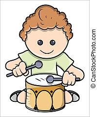 男の子, ベクトル, -, ドラム, 遊び