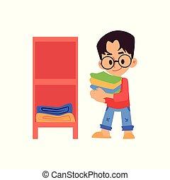 男の子, ベクトル, 平ら, 衣服, 隔離された, 漫画, illustration., 折られる, 棚, パッティング...