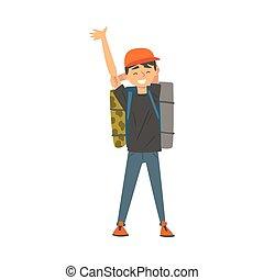 男の子, ベクトル, 微笑, 旅行する, バックパック, 休暇, 地位, イラスト, 子供