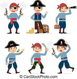 男の子, ベクトル, 海賊, 子供