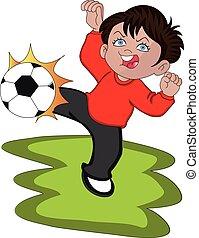 男の子, ベクトル, 遊び, soccer.