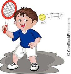 男の子, ベクトル, 遊び, tennis.