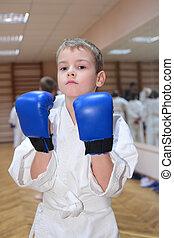 男の子, ボクシング用グラブ, ホール, スポーツ
