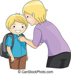 男の子, ボタン, ワイシャツ, お母さん, 子供