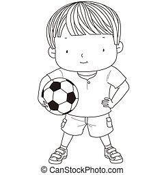 男の子, ボール, かわいい, フットボール, 隔離された, イラスト, バックグラウンド。, 保有物, 白