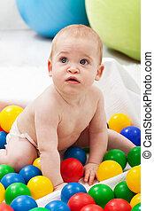 男の子, ボール, カラフルである, プラスチック, 赤ん坊, 遊び