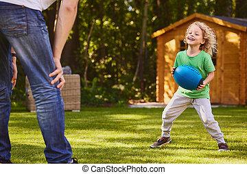 男の子, ボール, 父, 遊び