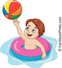 男の子, ボール, 膨らませることができる, 漫画, 円, 浜, 遊び
