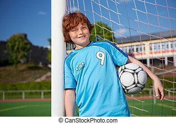 男の子, ボール, 間, 棒, 保有物, 傾倒, 網, サッカー