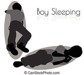男の子, ポーズを取りなさい, 睡眠, 背景, 白, 毎日