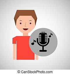 男の子, マイクロフォン, 概念, クラシック, 若い, 音楽