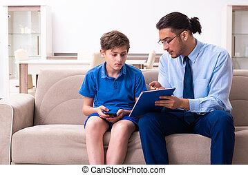 男の子, マレ, インターネット, 訪問, 医者, 常習している