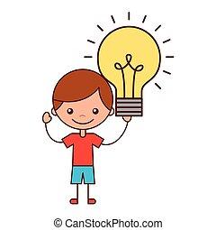 男の子, ライト, 考え, 保有物, 電球