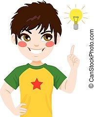 男の子, ライト, 考え, 電球