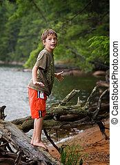 男の子, リモート, 若い, 湖, 探検