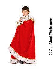 男の子, ローブ, 服を着せられる, 王