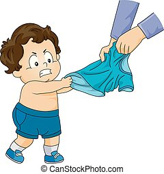 男の子, ワイシャツ, お気に入り, イラスト, よちよち歩きの子, 子供