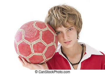 男の子, 上に, ボール, 白い背景