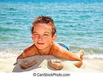 男の子, 上に, a, 浜