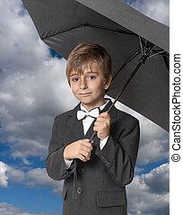 男の子, 下に, ∥, 傘, 上に, a, 空, 背景