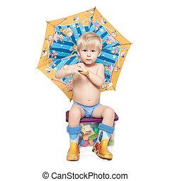 ∥, 男の子, 下に, ∥, 傘, 座る, 上に, a, 箱