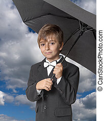 男の子, 下に, 傘, 背景, 空