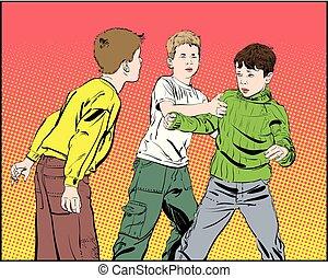 男の子, 不良, boys., 十代, fight., 握りこぶし, 戦い