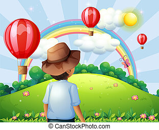 男の子, 丘の上, 飛行, 風船, 虹