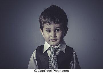 男の子, 中に, スーツとタイ, ビジネス 概念