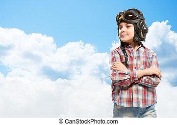 男の子, 中に, ヘルメット, パイロット, 夢を見ること, の, なること, a, パイロット