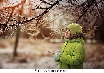 男の子, 中に, 冬