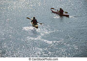 男の子, 中に, kayaks.