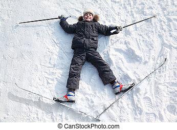 男の子, 中, 冬, スキーをする, 伸張, 日当たりが良い, 若い, 腕, ポーランド人, 森林, クロスカントリー...