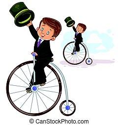 男の子, 乗車, イラスト, ベクトル, レトロ, 小さい, 自転車