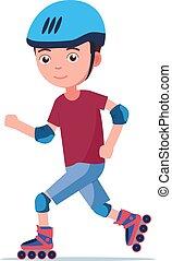 男の子, 乗車, ローラー スケート
