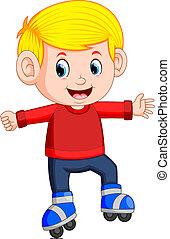 男の子, 乗馬, ローラー スケート