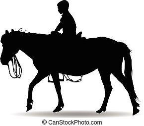 男の子, 乗馬, 公園, 馬