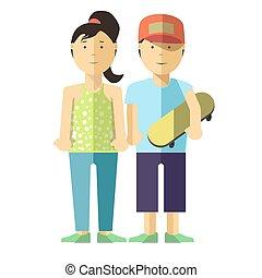 男の子, 人々, skate., 若い, clothes., 女の子, 偶然, 幸せ