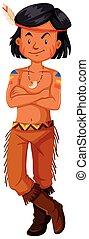 男の子, 伝統的である, アメリカインディアン, 衣装, ネイティブ