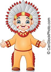 男の子, 伝統的である, アメリカインディアン, 衣装, 漫画, ネイティブ