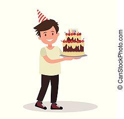 男の子, 保有物, 大きい, s, birthday., 子供, cake.