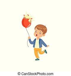 男の子, 保有物, 破烈, balloon, イラスト, 悲しい, ベクトル, 背景, 白