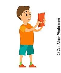 男の子, 保有物, 読む本, 子供, わずかしか, ベクトル