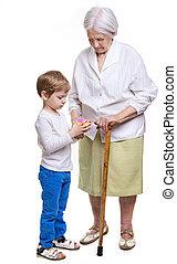 男の子, 偉人, 彼の, 困惑, 祖母, 立方体, 解決しなさい, つらい