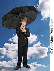 男の子, 傘, 下に
