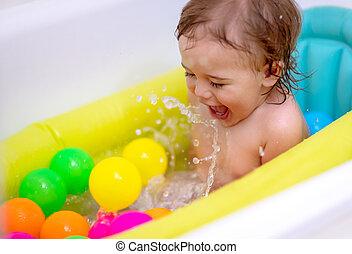男の子, 入浴, 幸せ